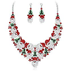 Elegant Santa Claus Necklace Earrings Bridal Jewelry Set Silver Plated Bride Wedding Costume Accessories Gifts for Women