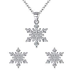EleQueen 925 Sterling Silver Cubic Zirconia Winter Snowflake Pendant Necklace Stud Earrings Set