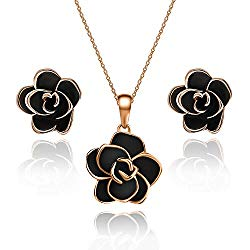 EVEVIC Rose Flower Necklace Earrings Set for Women 18K Gold Plated Hypoallergenic Jewelry Sets