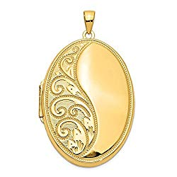 FB Jewels Solid 14K Yellow Gold Oval Heavy Weight Locket