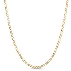 Floreo 10k Yellow Gold Two Tone White Pave Lightweight Curb Chain Necklace 2.5mm