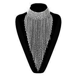 Flyonce Women Crystal Stunning Tassel Collar Luxury Statement Necklace for Banquet, Prom