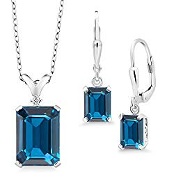 Gem Stone King 925 Sterling Silver London Blue Topaz Pendant Earrings Set, 13.49 Ct Emerald Cut with 18 Inch Chain