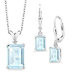 Gem Stone King 925 Sterling Silver Sky Blue Topaz and Diamond Pendant Earrings Set, 13.37 Cttw Emerald Cut, Gemstone Birthstone with 18 Inch Silver Chain