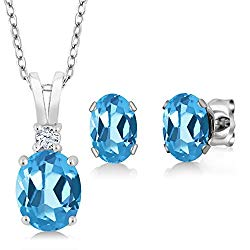 Gem Stone King Sterling Silver Swiss Blue Topaz Pendant Earrings Set (3.15 cttw, With 18 Inch Silver Chain)