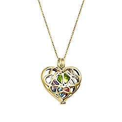 Gold Plated Personalized 6mm Round Simulated Birthstone Heart Caged Locket (16″ chain)
