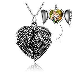 GOXO Picture Locket Necklace Sterling Silver Heart Locket Pendant Necklace That Holds Pictures for Men Women