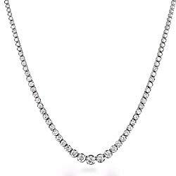 JewelMore 3ct.tw 14k White Gold Diamond Tennis Necklace (3 cttw, K-L Color, I1-I2 Clarity), 17″