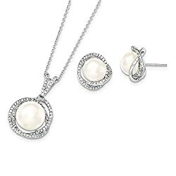Jewelry Sets Earrings/Necklace Sterling Silver Rhodium 10-12mm White FWC Pearl CZ Necklace and Earring Set