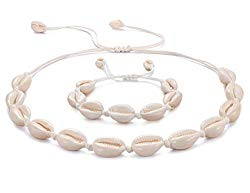 Kainier Shell Necklaces Cowrie Puka Choker Necklace and Bracelets Set Handmade Hawaii Vintage Boho Style Easy Adjustable Conch Beaded Jewelry for Women Girls and Men