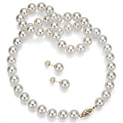 La Regis Jewelry Japanese Akoya Cultured Pearl Necklace and Earrings Set, White Gold or Yellow Gold – AAA+ Quality