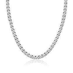 MDFUN Unisex 4mm Tennis Chain, 18K White Gold Plated, Round Cubic Zirconia Classic Tennis Necklace for Women Men 18inch