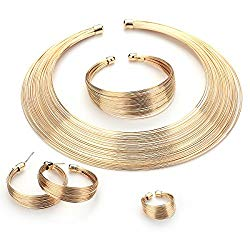 MOOCHI Gold Plated African Multiple Strands Choker Women Necklace Earrings Chunky Costume Statement Jewelry Set