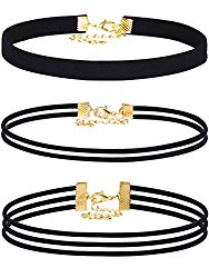 Mudder Velvet Chokers Necklaces Set Classic Chokers for Women and Girls (Black, 3 Pieces)