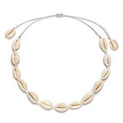 Natural Shell Choker Necklace for Women Girls Handmade Beaded Seashell Pendant Necklace Summer Beach Rope Conch Statement Jewelry Adjustable Hawaii Boho Cowrie Collar Necklace