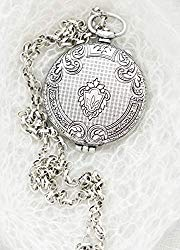 Oversized Silver Locket Large 1.5 inch Diameter with Adjustable Chain in Gift Box