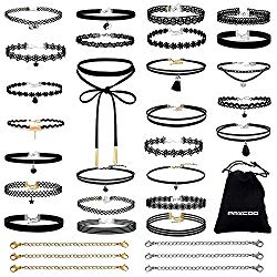 PAXCOO 32 PCS Choker Necklaces Set Including 26 Pcs Black Choker Necklaces and 6 Pcs Extender Chains for Women Girls
