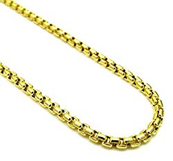 Pori Jewelers 10K Yellow Gold 3.5mm Thick Round Box Chain Necklace – Multiple Lengths Available