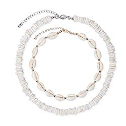 Puka Shell Choker Necklace Set, Cowrie Seashell Necklace, Vsco Conch Shell Necklace, Puka White Chips Surfer Shell Necklace Choker for Men, Boho and Statement Trendy Jewelry, Gift for Women Girls