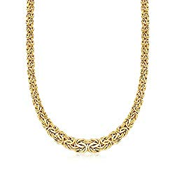 Ross-Simons Certified 14kt Yellow Gold Graduated Byzantine Necklace