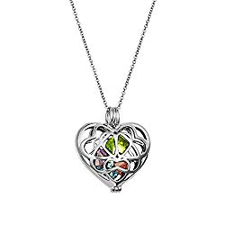 Sterling Silver Personalized 6mm Round Simulated Birthstone Heart Caged Locket (16″ chain)