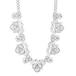 Steve Madden 21″ Silver Tone Rhinestone Floral Collar Statement Necklace for Women
