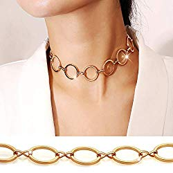 Suyi Choker Necklace – Simple Geometric Circle Choker Statement Clavicle Necklace for Women Girls Necklace Jewerly