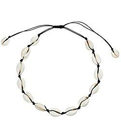 SXNK7 Natural Shell Necklace Choker for Women Girl Bead Pearl Handmade Hawaii Wakiki Beach Rope Jewelry (Black Weaving Necklace)