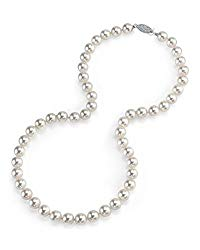 THE PEARL SOURCE 14K Gold 7.0-7.5mm AAA Quality Round Genuine White Japanese Akoya Saltwater Cultured Pearl Necklace in 20″ Matinee Length for Women