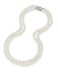 THE PEARL SOURCE 14K Gold 7.0-7.5mm Round Genuine White Double Japanese Akoya Saltwater Cultured Pearl Necklace in 16-17″ Length for Women