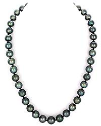THE PEARL SOURCE 14K Gold 9-11mm Round Genuine Black Tahitian South Sea Cultured Pearl Necklace in 18″ Princess Length for Women