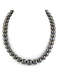THE PEARL SOURCE 14K Gold Round Genuine Black Tahitian South Sea Cultured Pearl Necklace in 18″ Princess Length for Women