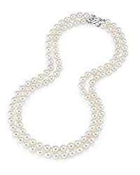 THE PEARL SOURCE 14K Gold Round Genuine White Double Japanese Akoya Saltwater Cultured Pearl Necklace in 18-19″ Necklace Length for Women