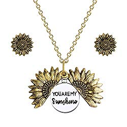 Une Douce You are My Sunshine Necklace, Sunflower Necklace and Earrings Set, Mother Daughter Necklace, Engraved Pendant Locket Necklace, Jewelry for Women and Girls with Gift Box
