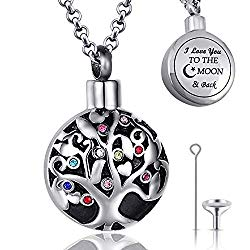 Urn Necklaces for Ashes Urns for Human Ashes Tree of Life Cremation Jewelry Necklace Pendant with Funnel Filler Kit