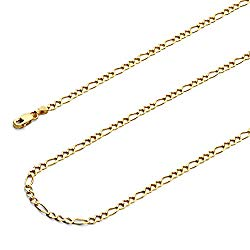 Wellingsale 14k Yellow Gold Solid 2.5mm Figaro 3+1 Concave Chain Necklace