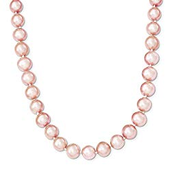 White Sterling Silver necklace Pearl Freshwater Pink 20 in 9 mm