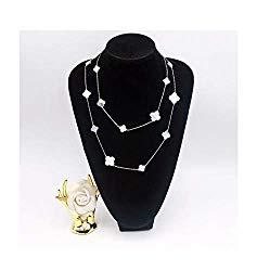 Women Black Onyx 18K Gold Plated 16 Flower 90CM Four-Leaf Clover Necklace/Classic Fashion Leaf Pearl Clover Necklace- Shape Malachite Pendant Clavicle Chain