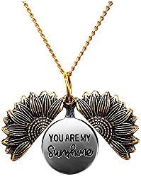 Women Sunflower Necklace You Are My Sunshine Engraved Locket Necklace Pendant