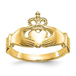 14k Yellow Gold Irish Claddagh Celtic Knot Band Ring Size 7.00 Fine Jewelry For Women Valentines Day Gifts For Her