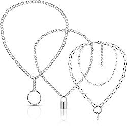 3 Pieces Punk Chain Choker Lock Pendant Necklace Long Multilayer Chunky Choker (Lock Ring Style)