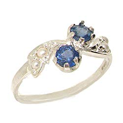 925 Sterling Silver Natural Sapphire and Cultured Pearl Womens Band Ring – Sizes 4 to 12 Available