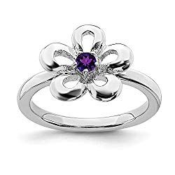 925 Sterling Silver Purple Amethyst Flower Band Ring Flowers/leaf Stackable Gemstone Birthstone February Fine Jewelry For Women Gift Set
