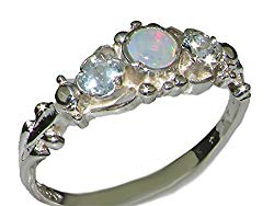 925 Sterling Silver Real Genuine Opal and Aquamarine Womens Band Ring