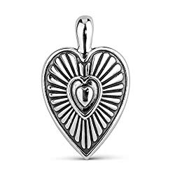 American West Sterling Silver 1-3/4″ Heart and Sunburst Enhancer Pendant