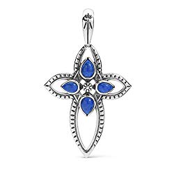 American West Sterling Silver Blue Lapis Gemstone Cross Pendant Enhancer
