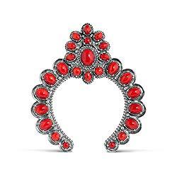 American West Sterling Silver Red Coral Gemstone Naja Pendant Enhancer