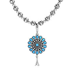 American West Sterling Silver Sleeping Beauty Turquoise Gemstone and Silver Beaded Round Shield Pendant Enhancer Necklace 17 to 20 Inch