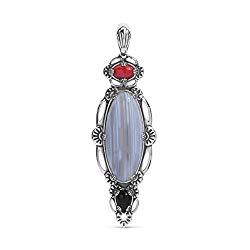 American West Sterling Silver Triple-Gemstone 3-1/4″ Elongated Clip-On Pendant Enhancer – Choice of 2 Colors