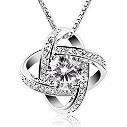 B.Catcher Silver Necklace Womens 925 Silver Cubic Zirconia Pendant Gemini Necklace